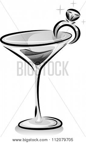 Black and White Illustration of a Wine Glass with a Ring Clipped to It