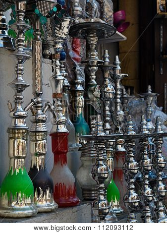 A Shop Selling Hooka (waterpipes) At Al Moez Street, Old Cairo, Egypt
