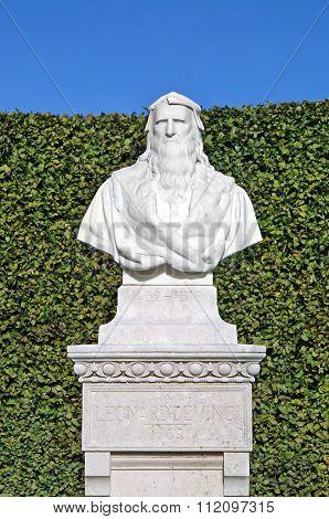 Bust Of Leonardo Da Vinci In The Park Of The Castle Of Amboise
