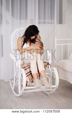 Woman and new born relax