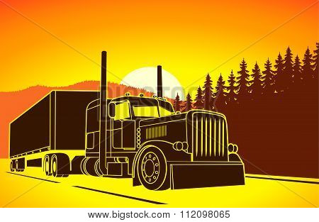 Trucking. Big Car On The Road