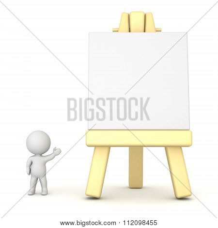 3D Character Showing Large Artsy Easel