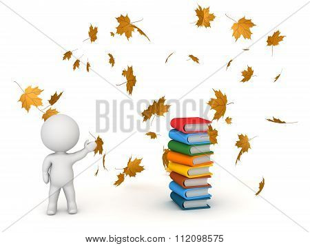 3D Character Showing Books And Autumn Leaves - Back To School