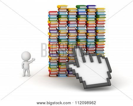 3D Characters Click On Many Colorful Books