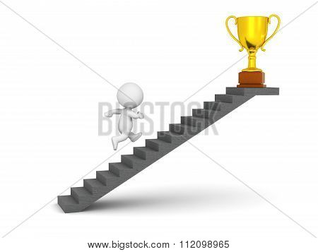 3D Character Running Up Stairs To Get Golden Trophy