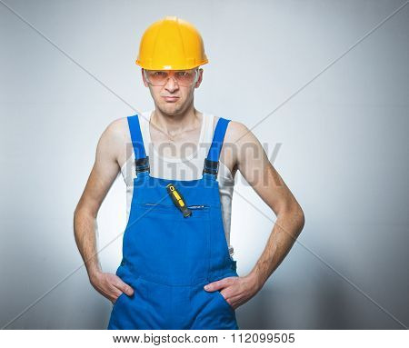 Frowning Manual Worker