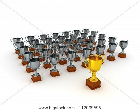 3D Silver Trophies And One Gold Trophy