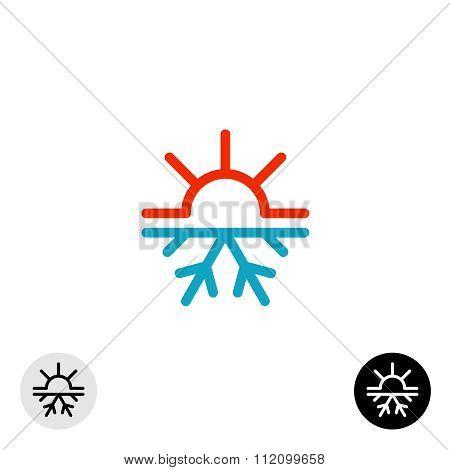 Hot And Cold Symbol. Sun And Snowflake All Season Concept Logo.