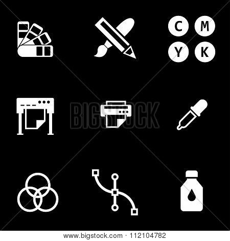 Vector White Polygraphy Icon Set