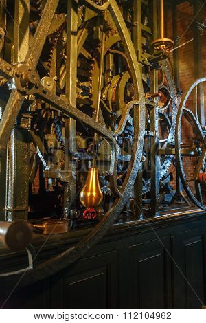 Tower Clock Ancient Mechanism, Nieuwe Kerk, Delft, Netherlands