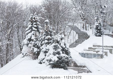 Snow-covered Stairs
