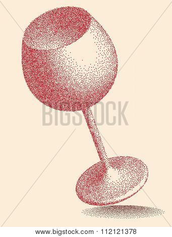Wine Glass Stipple Effect Vector Art