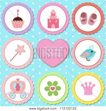 Set of tags with princess theme.