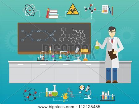 Chemical laboratory science and technology flat style design vector illustration. Scientists workpla