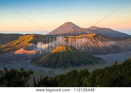 Sunrise at Mount Bromo volcano the magnificent view of Mt. Bromo located in Bromo Tengger Semeru National Park East Java Indonesia.