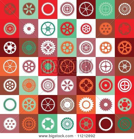 A mosaic consisting of gear of different color poster