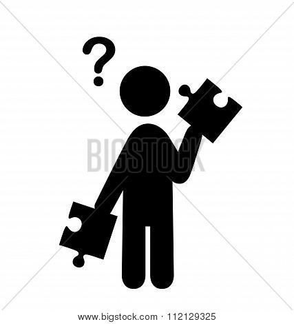 Confusion Man with Puzzle People with Question Mark Flat Icons P