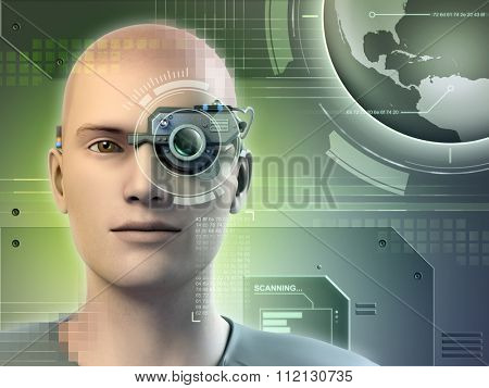 Young man wearing an electronic gadget on his eye. Digital illustration.