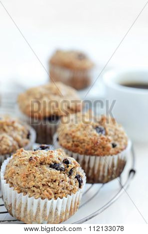 Healthy wholewheat bran muffin, a nutritious and fibre rich breakfast and snack
