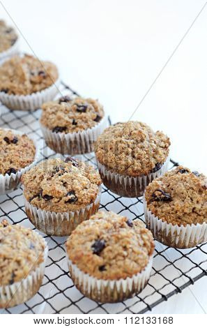 Healthy wholewheat bran muffin, a nutritious and rich in dietary fibre breakfast