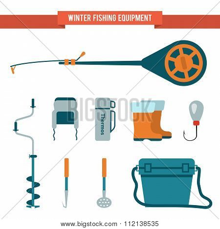 Set equipment flat style for winter fishing on ice