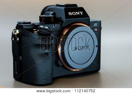 19. 12. 2015, BERLIN, GERMANY, Sony Alpha a7R II ILCE-7RM2 Mirrorless Digital Camera (Body Only) without lens. With a world's first full-frame 42.4-megapixel Exmor R back-illuminated CMOS sensor