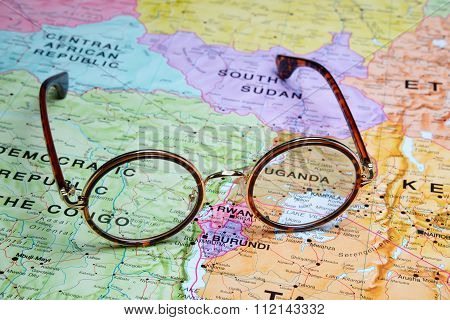 Glasses on a map - Kampala