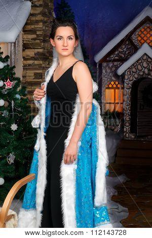 Beautiful Woman Remove Christmas Fancy Dress