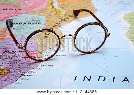 Glasses on a map - Maputo