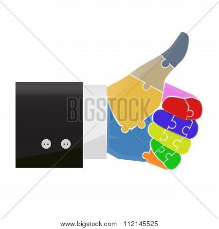 Thumb Up Finger Jigsaw Concept Illustration Vector