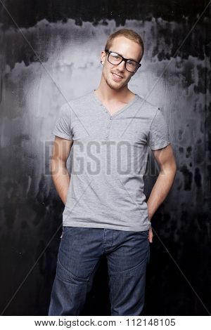 Good looking men, studio shot, metrosexual gay, casual clothing