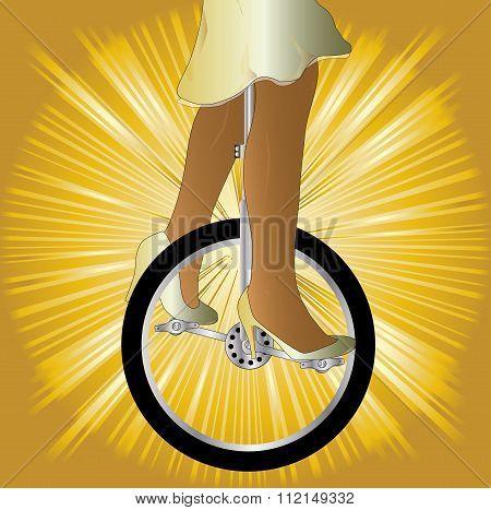 Unicycle On Golden Splash