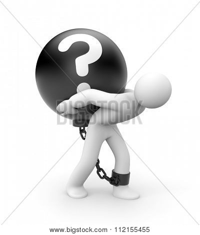 Man trapped with metal ball with question