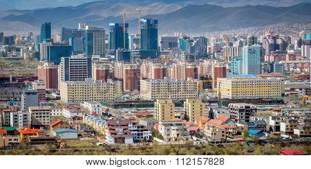 Ulaan-baator, Mongolia - May 2015: View Of Ulan Bator From Mountain Zaisan
