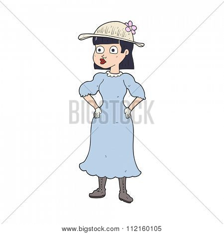 freehand drawn cartoon woman in sensible dress