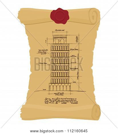 Tower Of Pisa Old Scroll. Ancient Drawing Of  Leaning Scheme Of Ancient Architectural Constructions