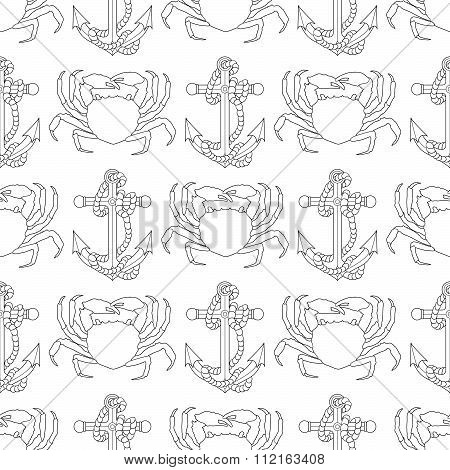 Marine seamless pattern with sea objects and animals.