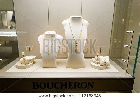 SINGAPORE - NOVEMBER 07, 2015: showcase in jewellery store in The Shoppes at Marina Bay Sands. The Shoppes at Marina Bay Sands is one of Singapore's largest luxury shopping malls