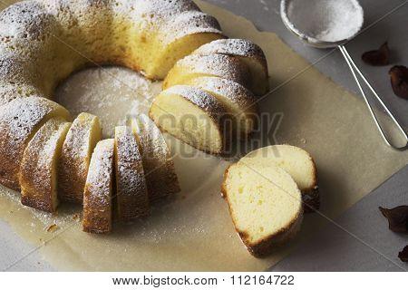 Sponge cake semolina with cottage cheese
