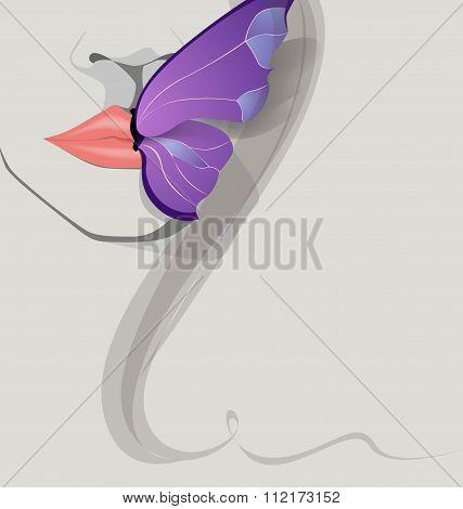 butterfly on  lips