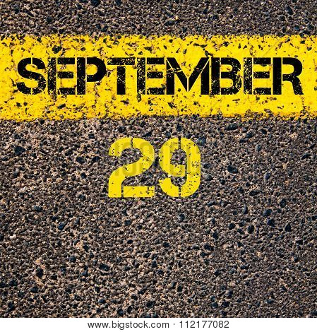29 September Calendar Day Over Road Marking Yellow Paint Line