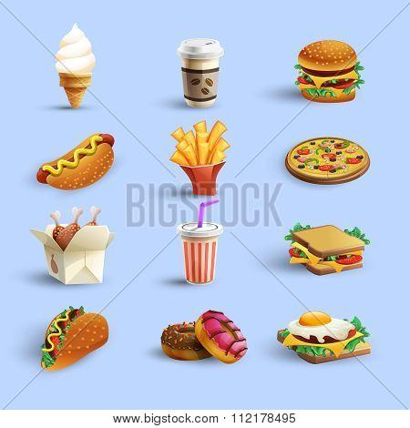 Fastfood Icons Cartoon Set