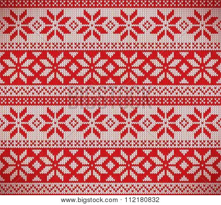 Christmas nordic seamless knitting illustration in red poster