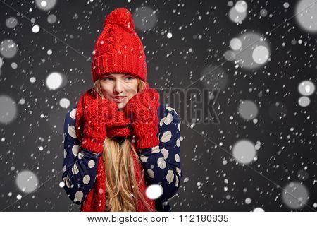 Christmas girl, winter concept