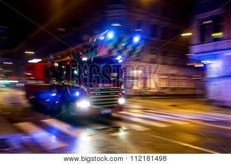 Scania Fire Truck At Night