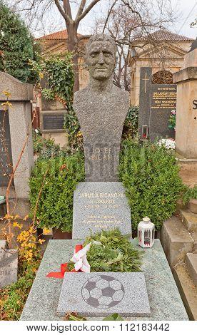 Footballer Josef Bican Tomb In Vysehrad Cemetery, Prague