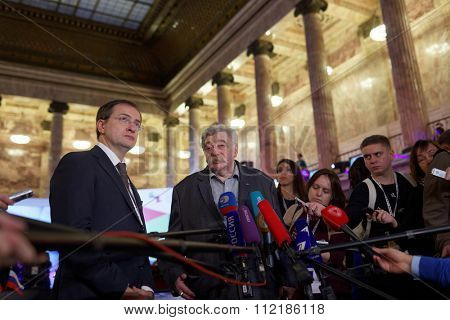 ST. PETERSBURG, RUSSIA - DECEMBER 14, 2015: Russian Minister of Culture V. Medinsky (left) and Director of Russian Museum of Ethnography V. Grusman (center) talk with press during Cultural Forum