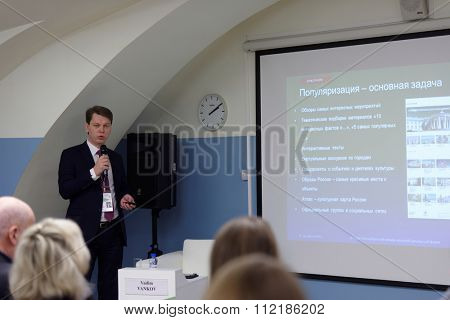ST. PETERSBURG, RUSSIA - DECEMBER 15, 2015: Deputy Director of the Department of administration of Russian Ministry of culture Vadim Vankov during the session of 4th St. Petersburg Cultural Forum