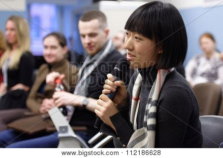 ST. PETERSBURG, RUSSIA - DECEMBER 15, 2015: Participants of the panel discussion on the integration potential of the art of ballet during 4th St. Petersburg International Cultural Forum