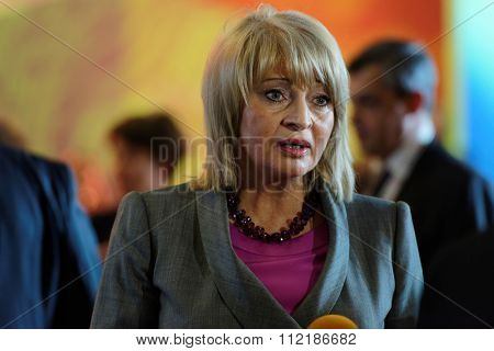 ST. PETERSBURG, RUSSIA - DECEMBER 14, 2015: Russian deputy minister of culture Alla Manilova talks with press after award ceremony Philanthropist of the Year during 4th St. Petersburg Cultural Forum